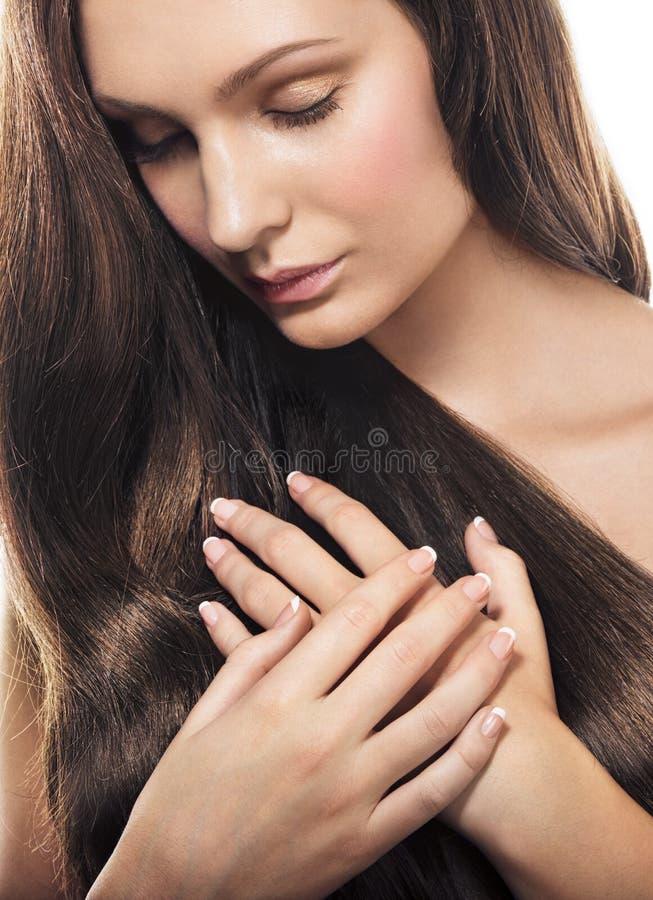 头发长的妇女 免版税库存图片