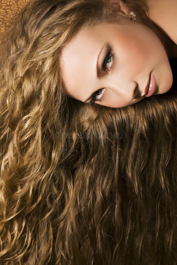 头发长的妇女 库存照片