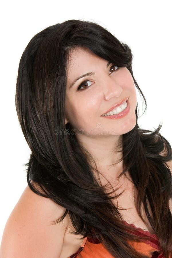 头发长的微笑的妇女 库存照片