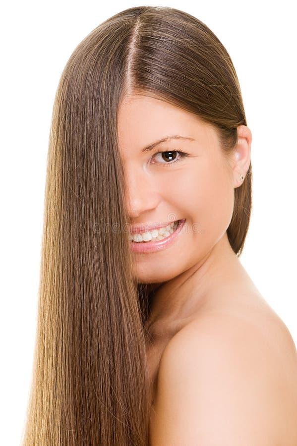 头发长的快活的妇女年轻人 库存图片