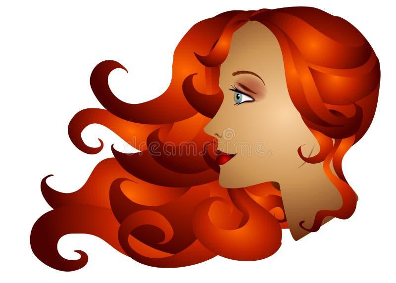 头发长的红头发人妇女 向量例证
