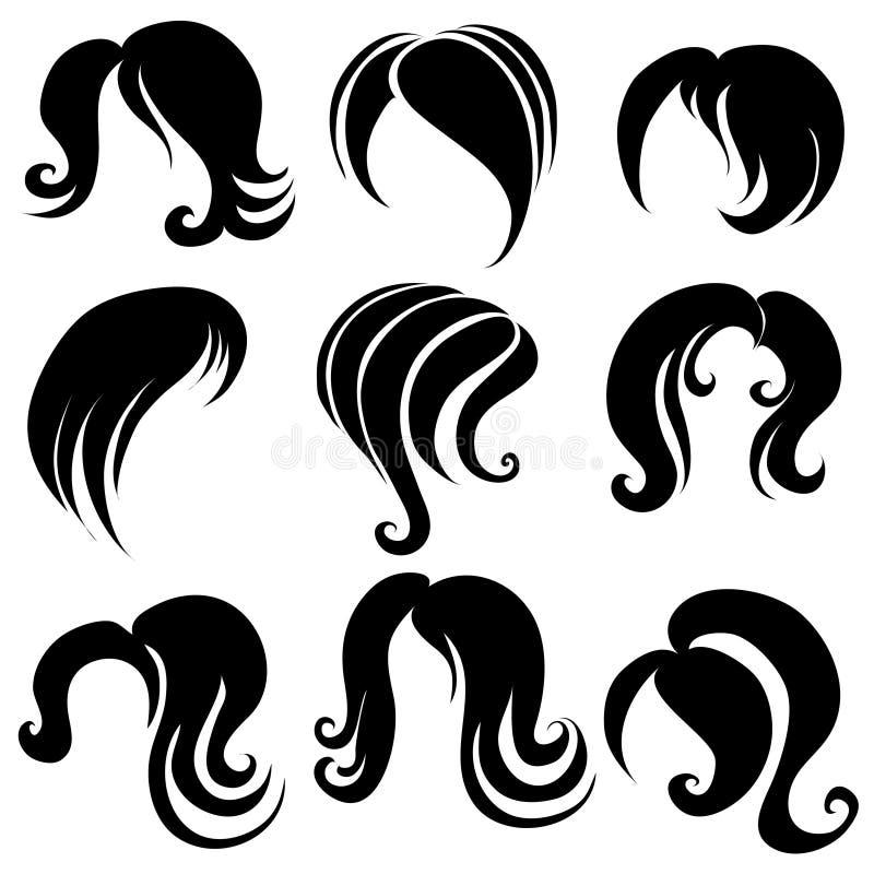 头发集合符号 向量例证
