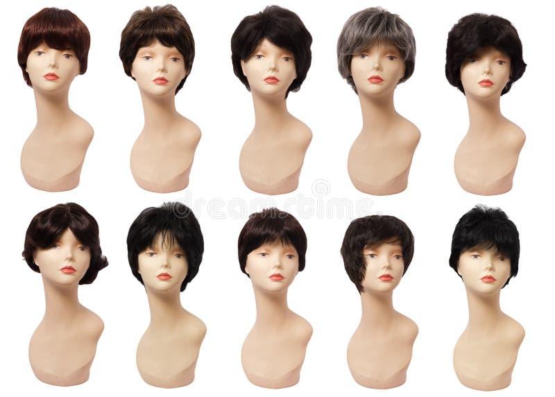 头发,塑料头假发在时装模特的 背景查出的白色 免版税库存照片
