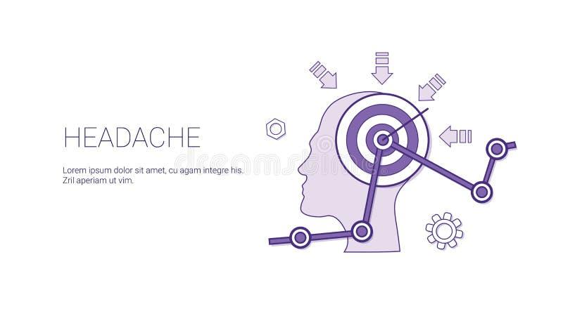 头疼与拷贝空间医疗保健概念的网横幅 皇族释放例证