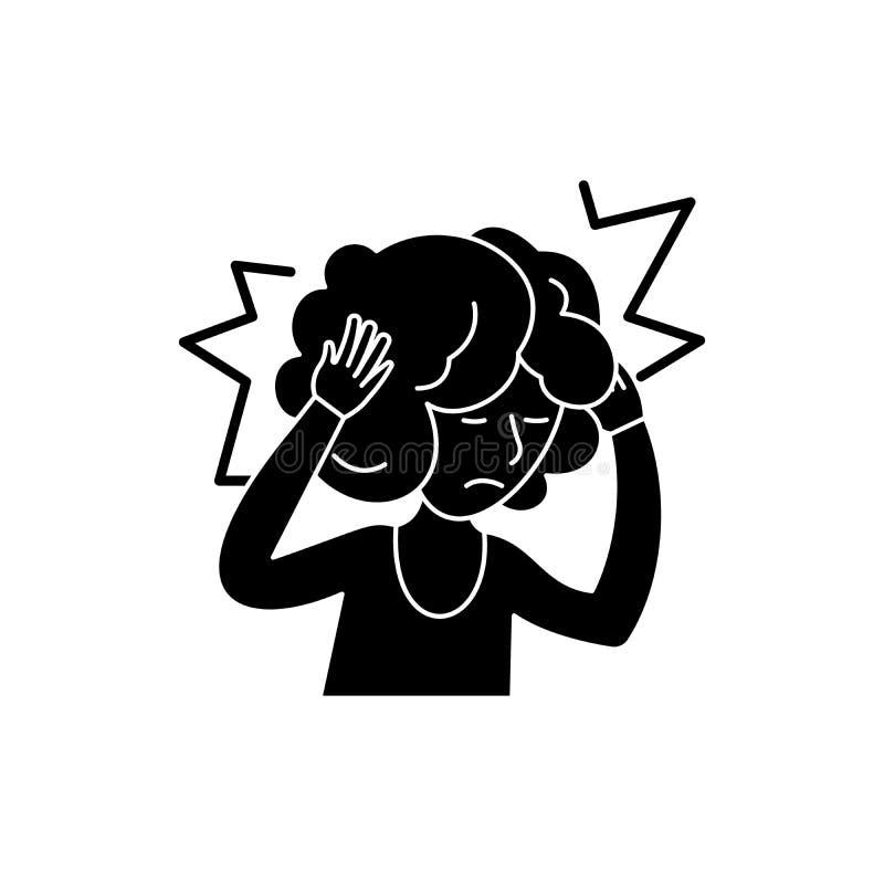 头疼黑色象,在被隔绝的背景的传染媒介标志 头疼概念标志,例证 皇族释放例证