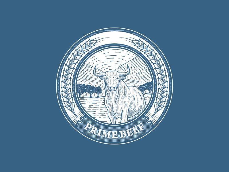 头等牛肉徽章第1 库存例证