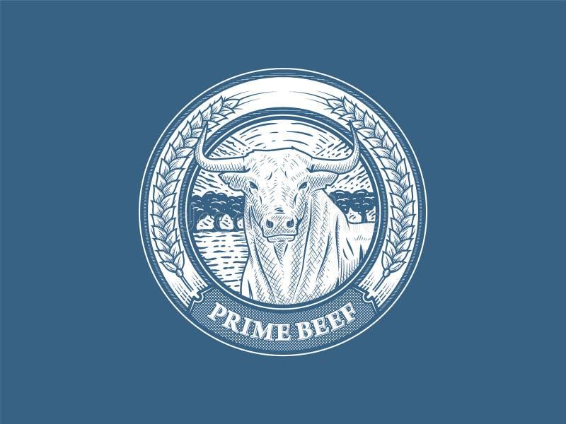 头等牛肉徽章第2 向量例证