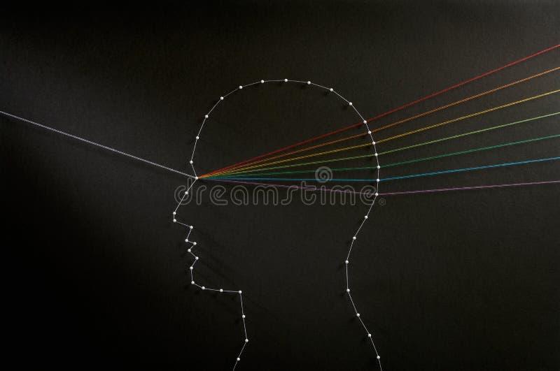 头脑棱镜 输入-输出概念 免版税库存图片