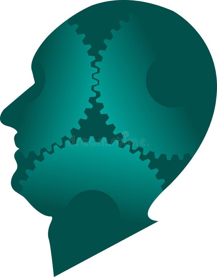 头脑齿轮徽标 库存例证
