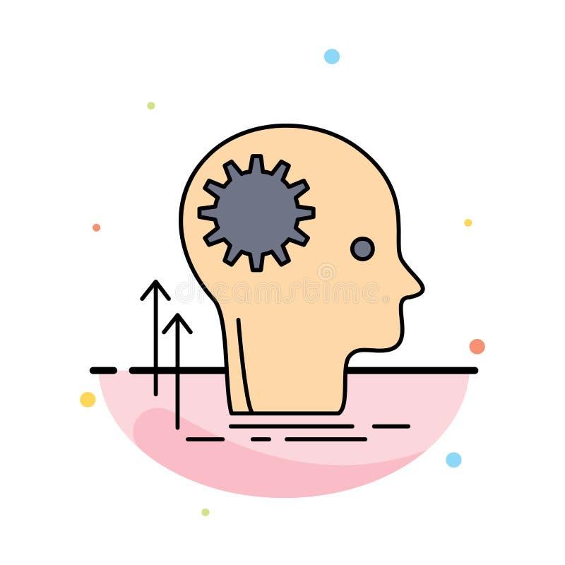 头脑,创造性,认为,想法,群策群力平的颜色象传染媒介 向量例证