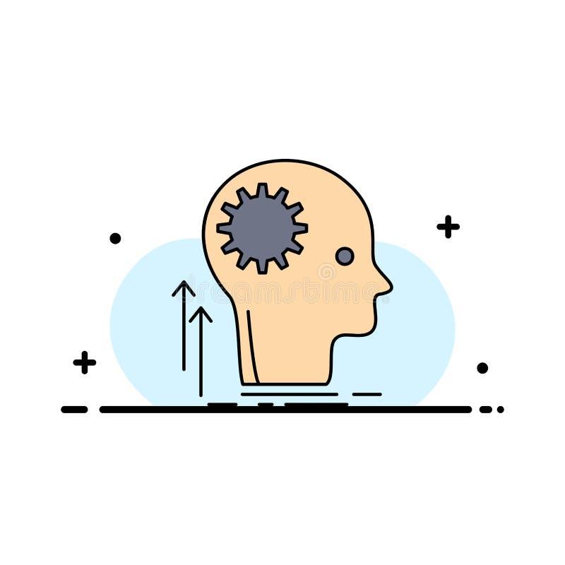 头脑,创造性,认为,想法,群策群力平的颜色象传染媒介 库存例证