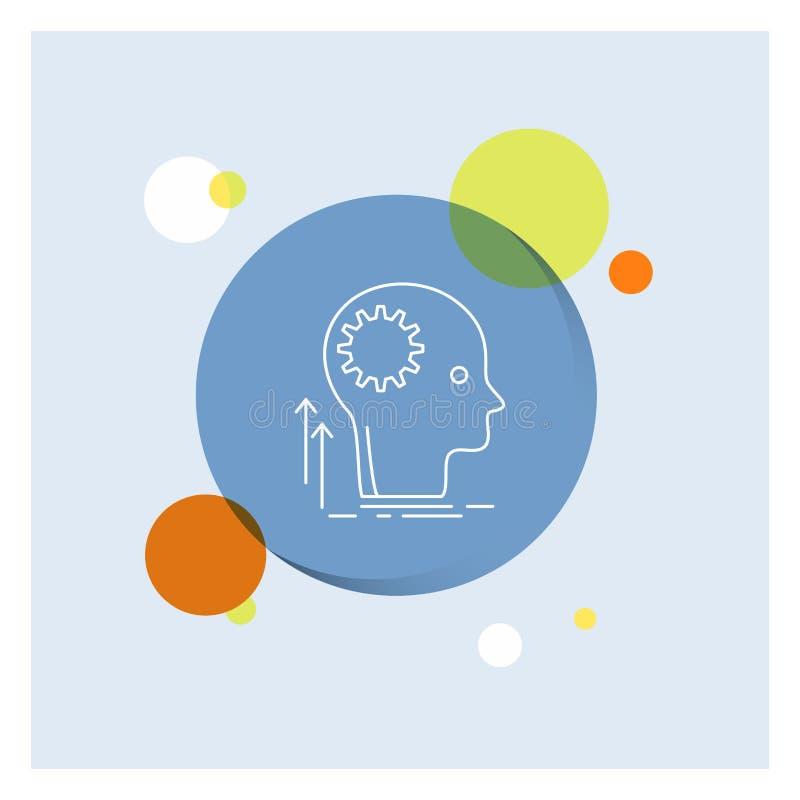 头脑,创造性,认为,想法,群策群力空白线路象五颜六色的圈子背景 向量例证