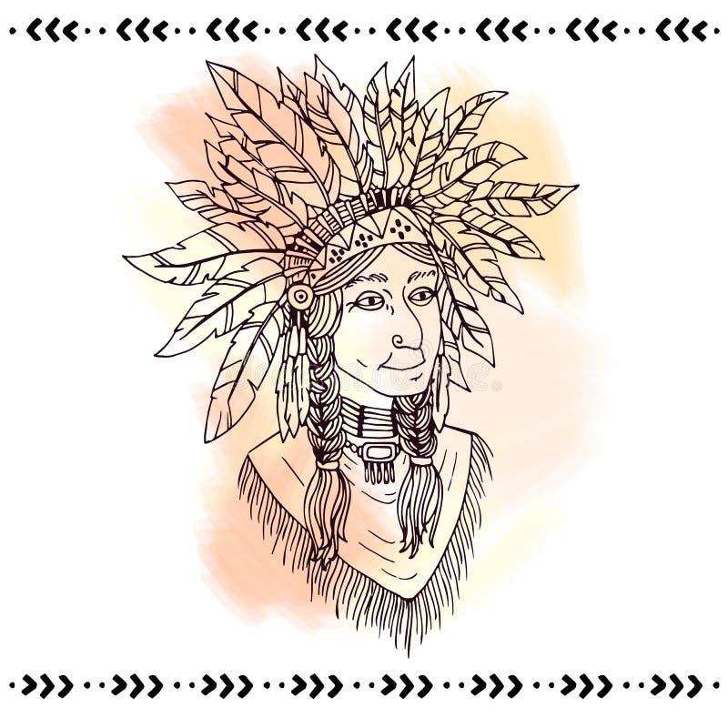 头饰的美洲印第安人 也corel凹道例证向量 向量例证
