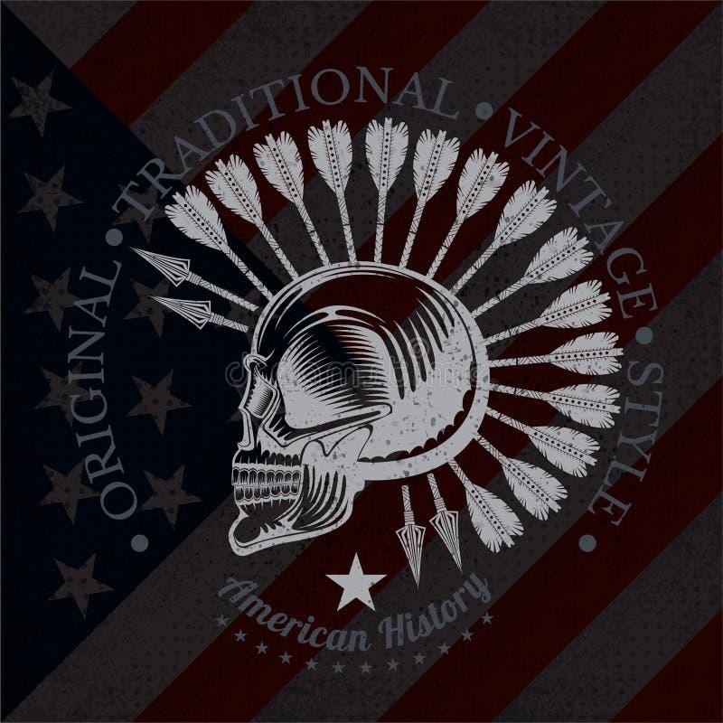 头骨与一根下颌和羽毛的外形视图从后面箭头 在美国旗子的葡萄酒印刷品 皇族释放例证