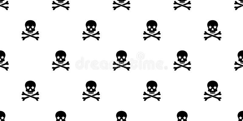 头骨两骨交叉图形无缝的样式海盗万圣夜骨头星毒物鬼魂基督十字架围巾隔绝了重复墙纸瓦片 向量例证