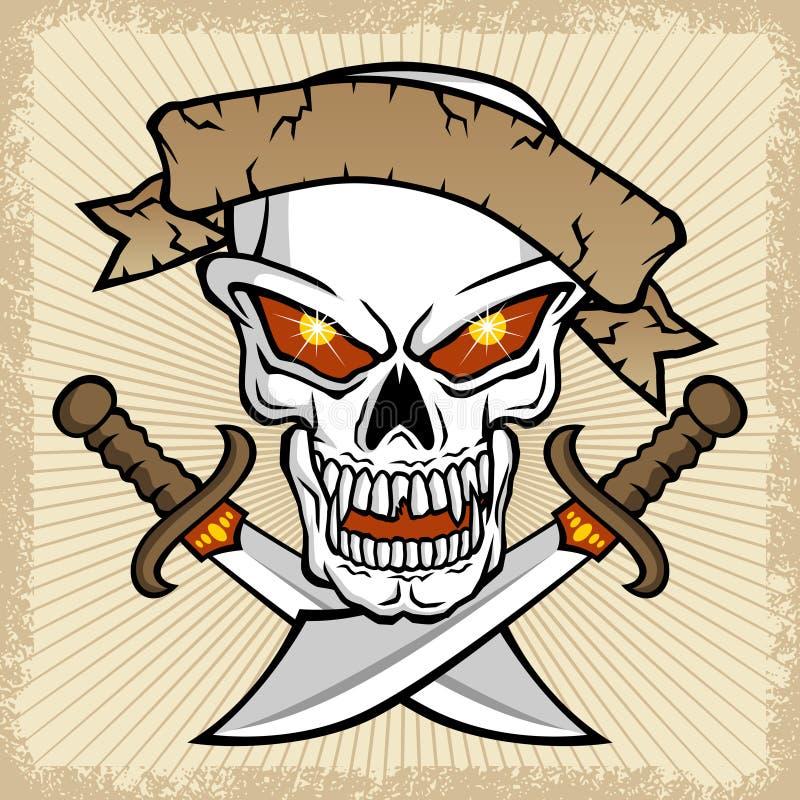头骨传染媒介有双剑的在泼溅物框架 皇族释放例证