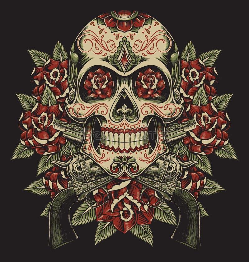 头骨和玫瑰与左轮手枪纹身花刺例证 皇族释放例证