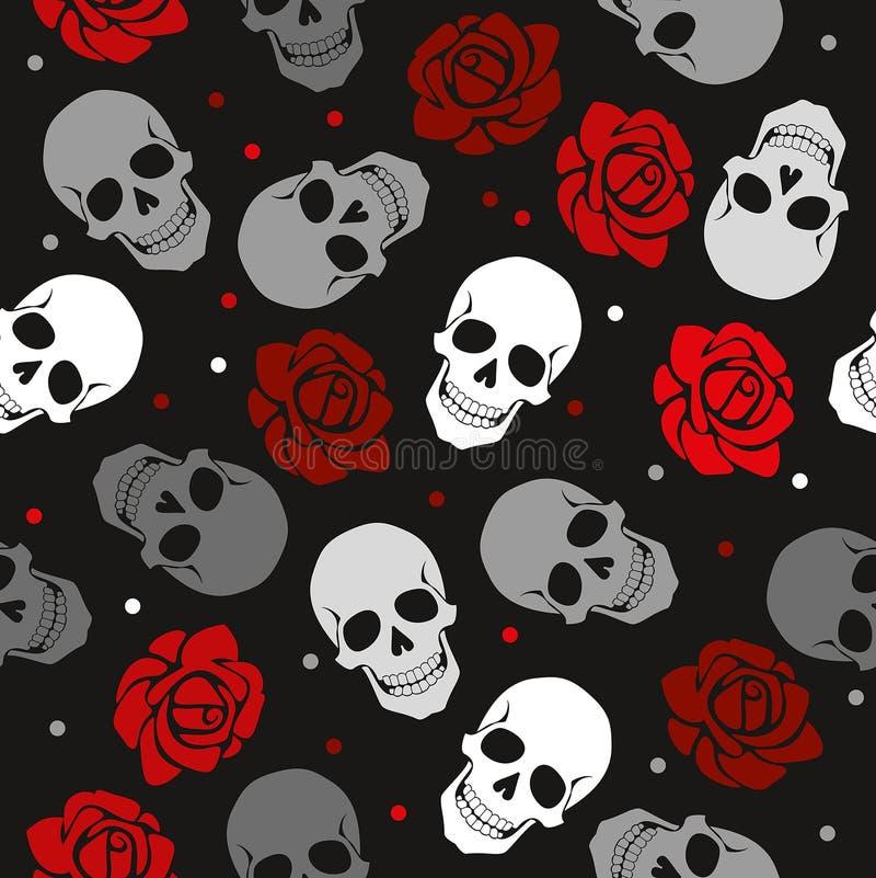 头骨和玫瑰的朴实的样式 库存例证