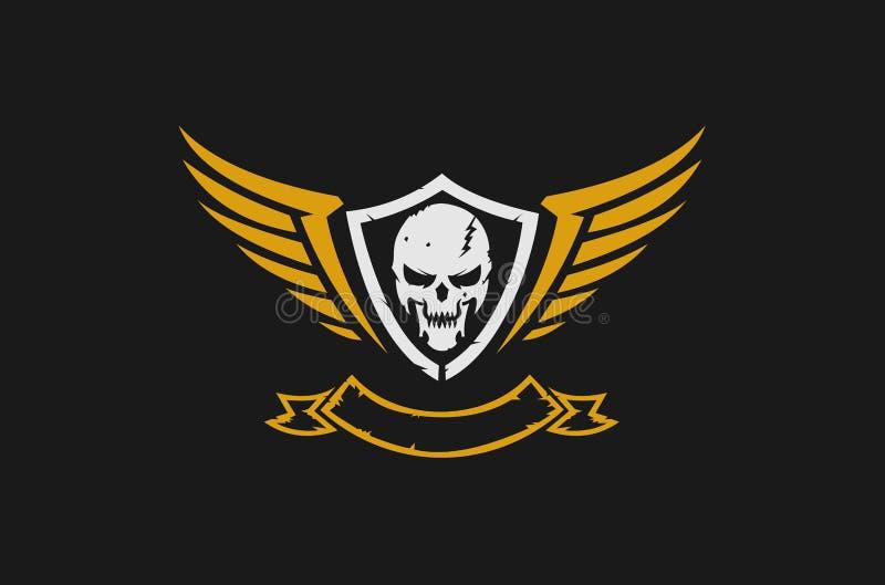 头骨和翼商标 皇族释放例证