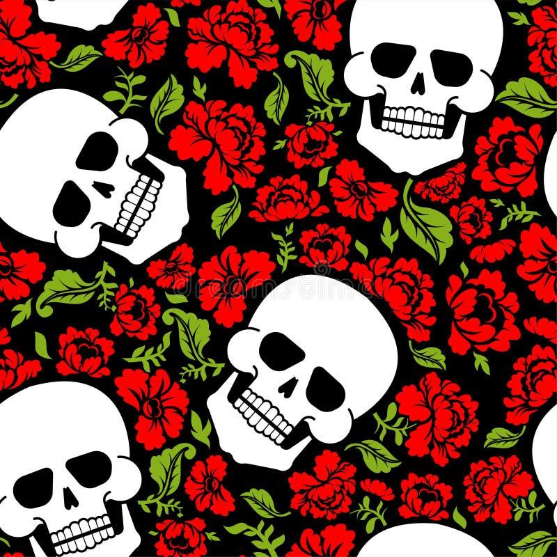 头骨和花纹花样无缝 最基本的转回去和玫瑰 库存例证