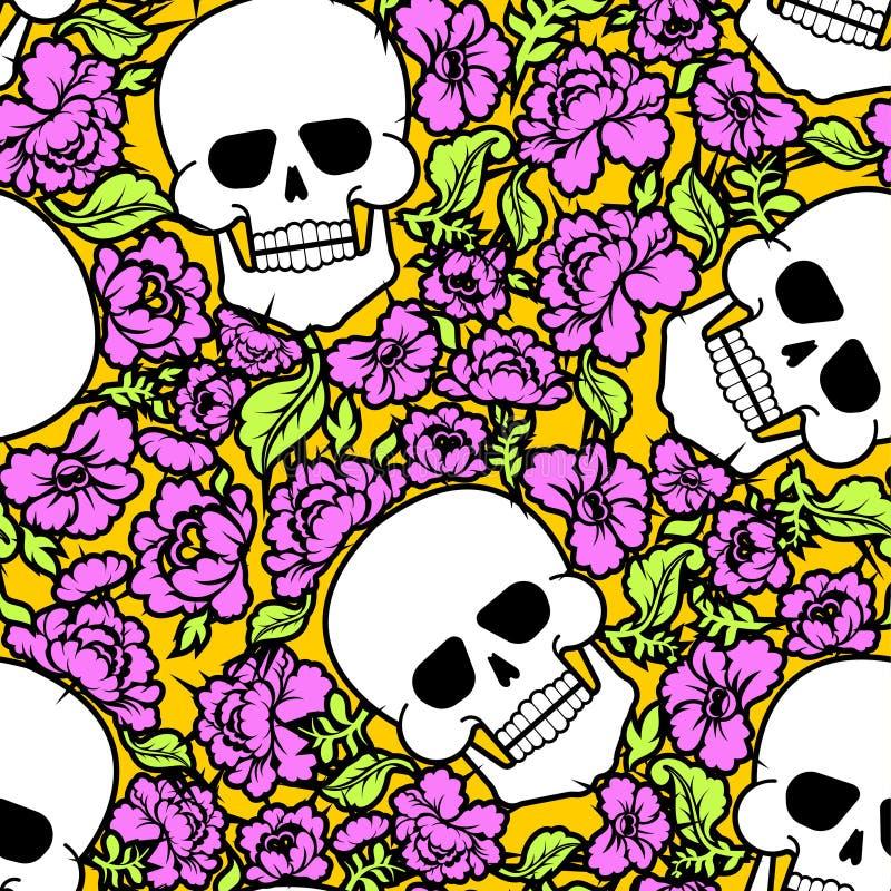 头骨和花纹花样无缝 最基本的转回去和玫瑰 向量例证
