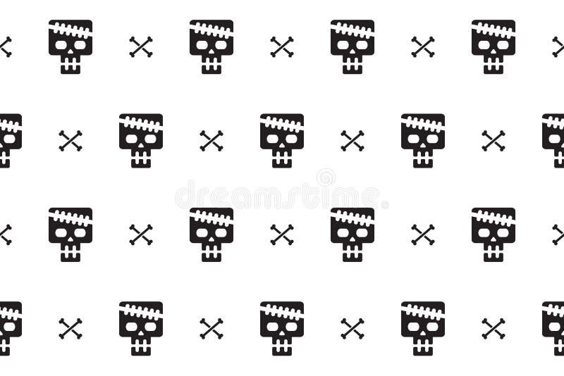 头骨和骨头动画片无缝的样式背景  皇族释放例证