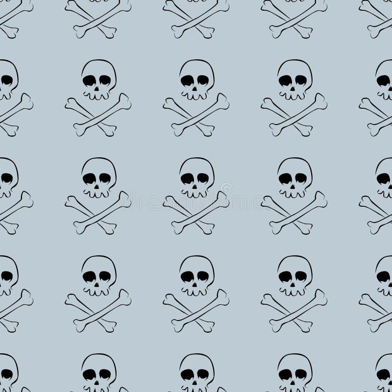 头骨和骨头无缝的样式 向量例证