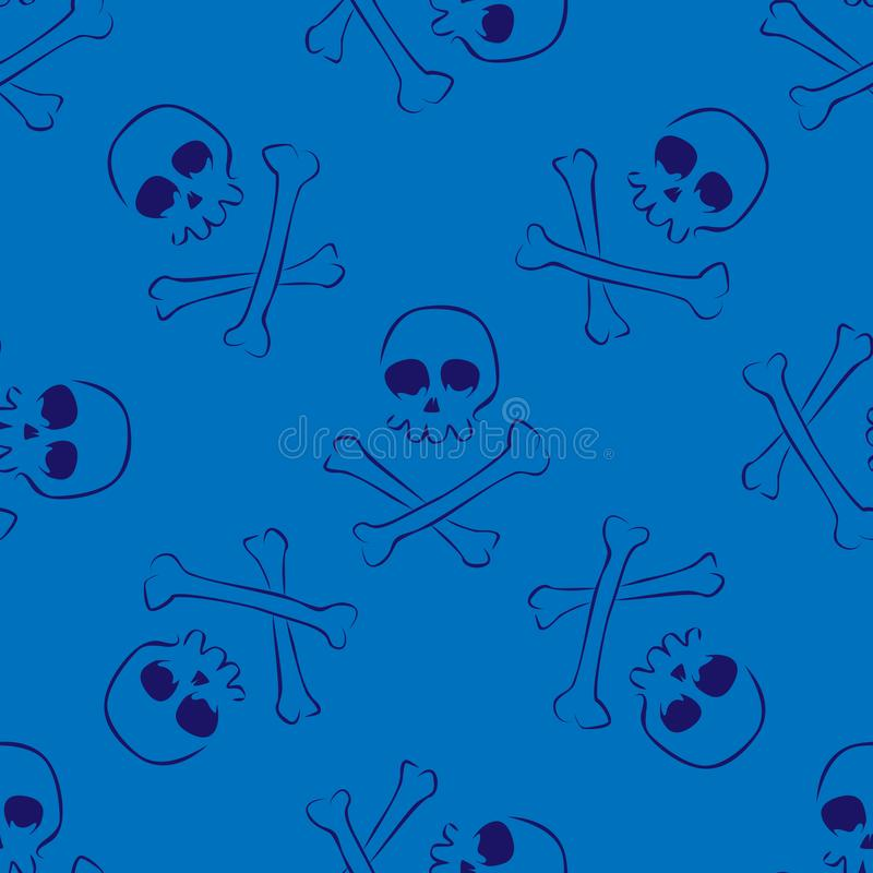 头骨和骨头无缝的样式 库存例证