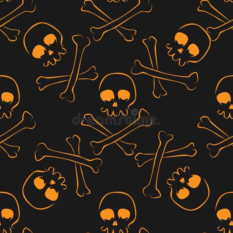 头骨和骨头无缝的样式 皇族释放例证