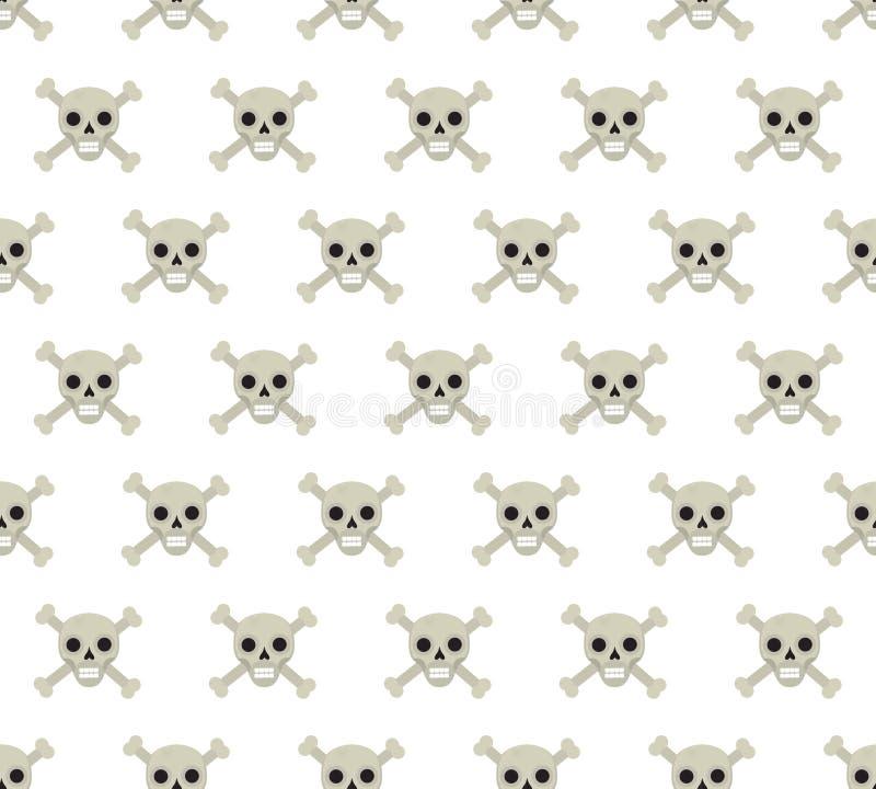 头骨和骨头无缝的样式 重复纹理的骨骼 头骨不尽的背景 日历概念日期冷面万圣节愉快的藏品微型收割机说大镰刀身分 向量 皇族释放例证