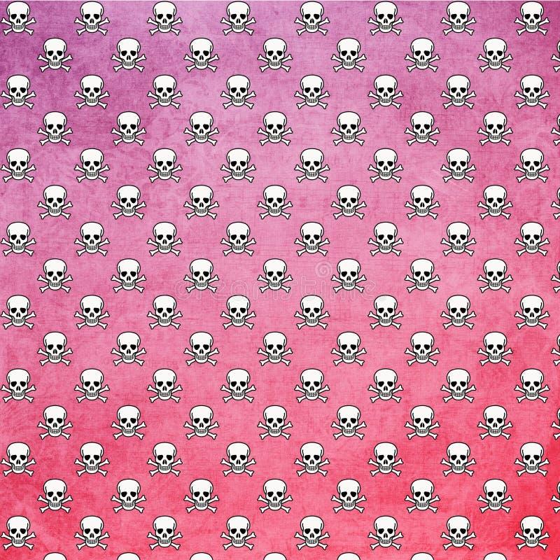头骨和骨头样式桃红色Ombre背景 皇族释放例证