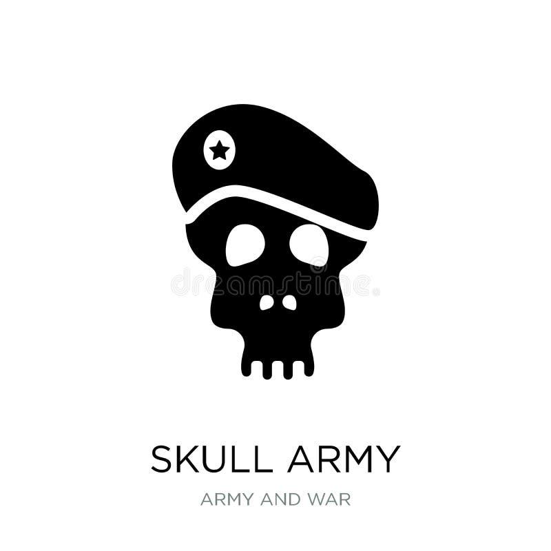 头骨在时髦设计样式的军队象 头骨在白色背景隔绝的军队象 头骨军队现代传染媒介的象简单和 向量例证