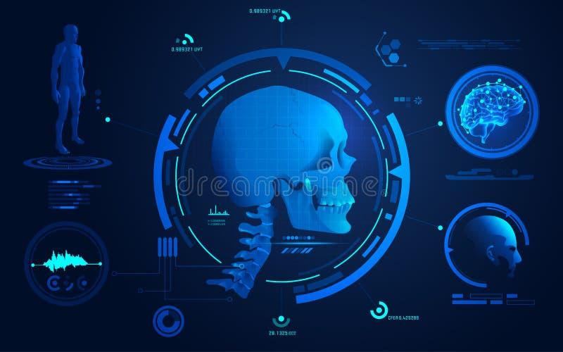 头骨扫描 库存例证
