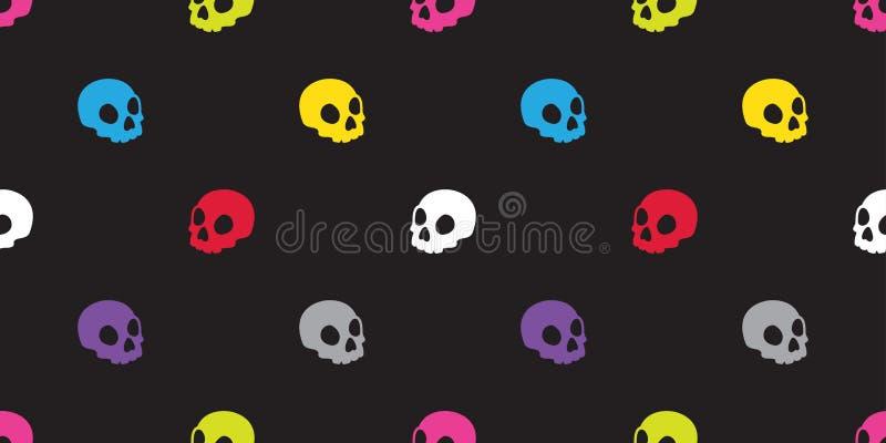 头骨无缝的样式万圣夜隔绝了骨头最基本的鬼魂象五颜六色的流行艺术墙纸背景 向量例证
