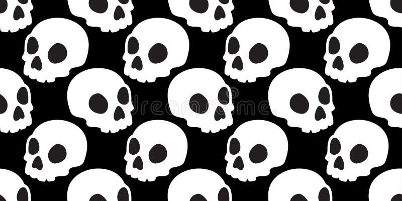 头骨无缝的样式万圣夜骨头鬼魂头墙纸瓦片背景 皇族释放例证