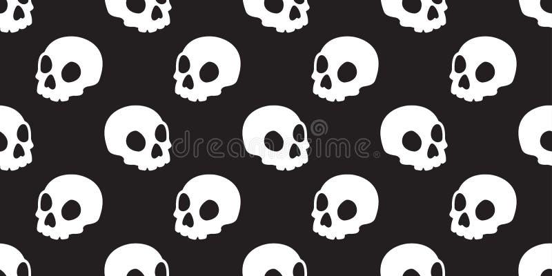 头骨无缝的样式万圣夜骨头鬼魂头背景隔绝了瓦片墙纸例证 库存例证
