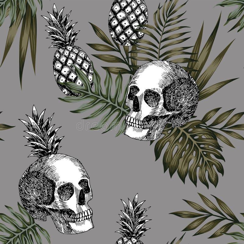 头骨无缝菠萝的样式 库存例证