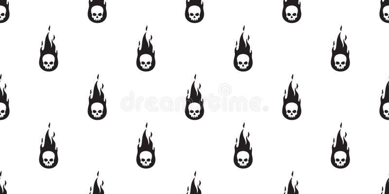 头骨火无缝的样式万圣节标志骨头鬼魂围巾被隔绝的海盗重复墙纸瓦片背景动画片dood 库存例证