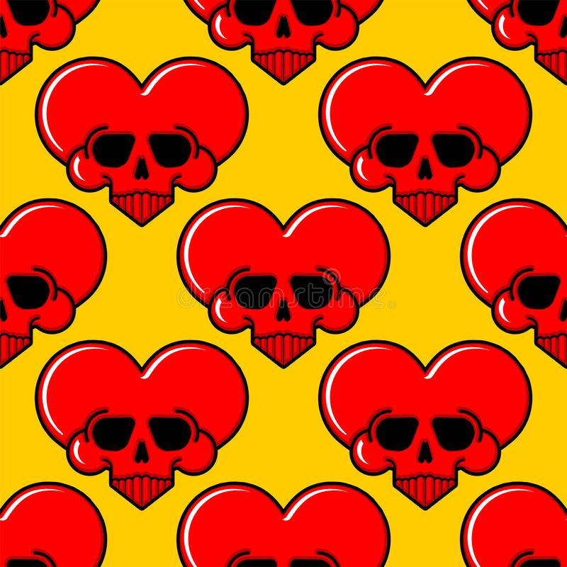 头骨爱无缝心脏的样式 致命的阿穆尔河背景 传染媒介纹理 皇族释放例证