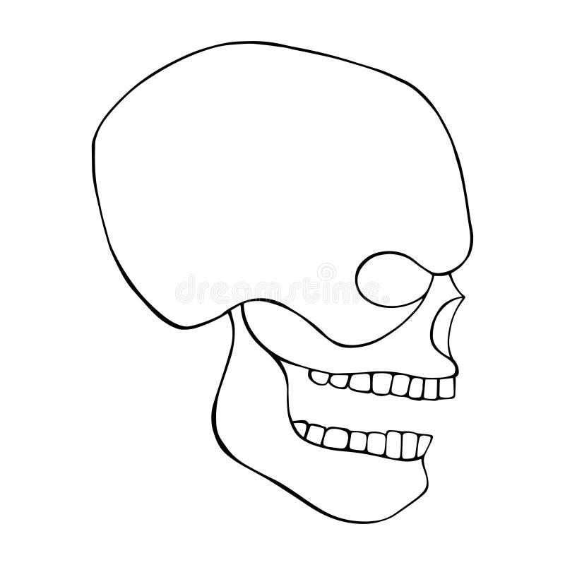 头骨的传染媒介黑白手拉的例证有牙的,人的象,T恤杉的印刷品恐怖剪影面孔  库存例证
