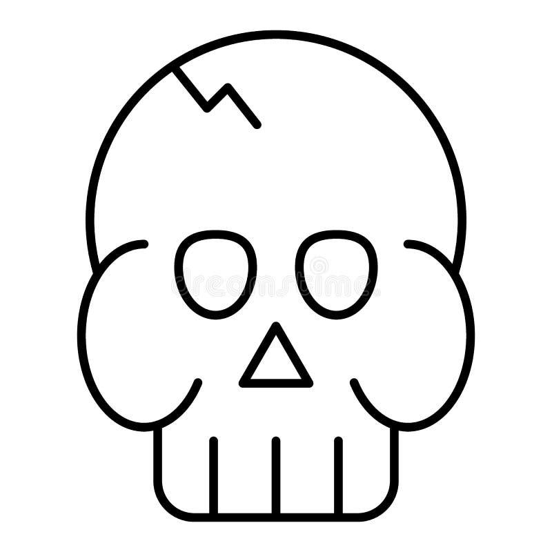 头骨稀薄的线象 死亡` s头在白色隔绝的传染媒介例证 头盖概述样式设计,设计为 皇族释放例证