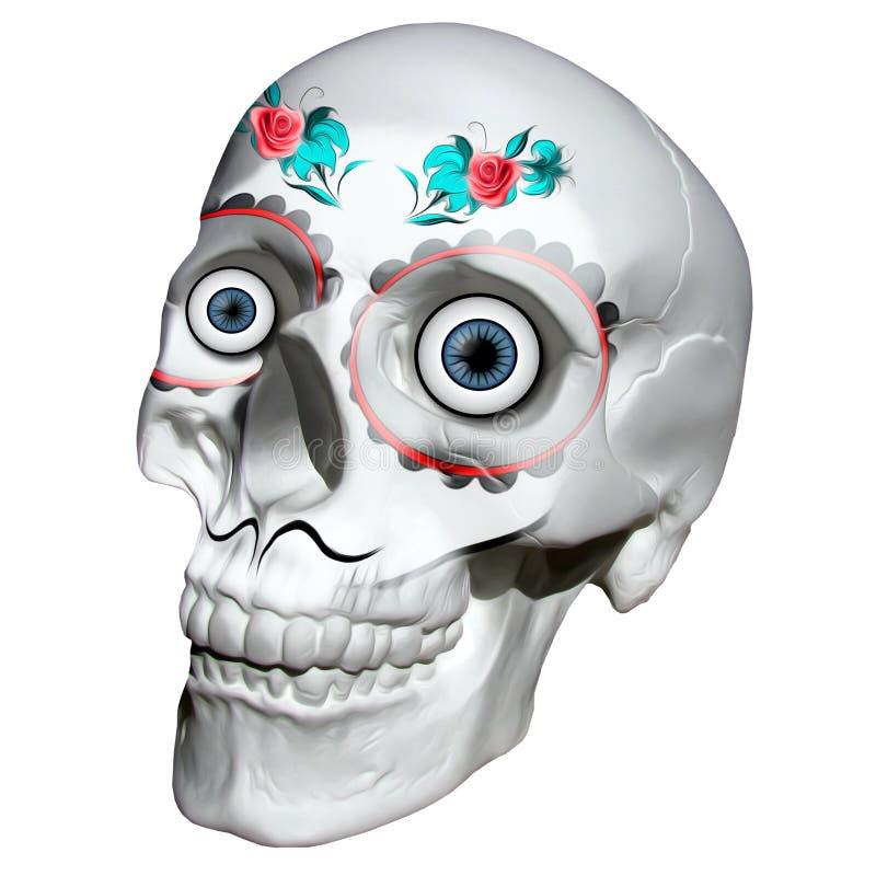 头骨纹身花刺墨西哥裔美国人 3d翻译 向量例证