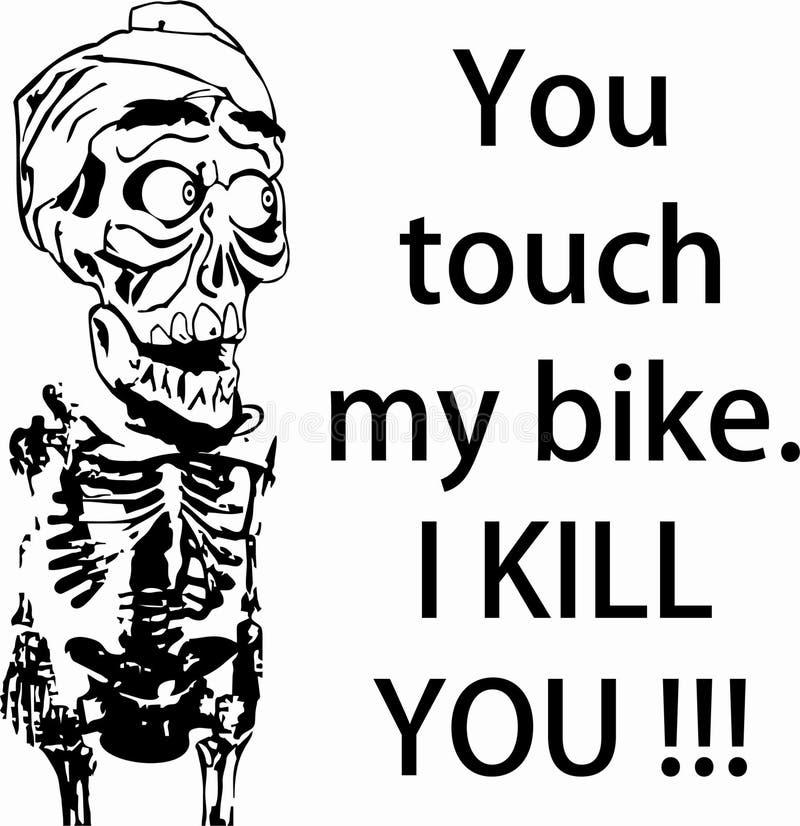 头骨艺术黑色接触我的自行车我杀害您 皇族释放例证
