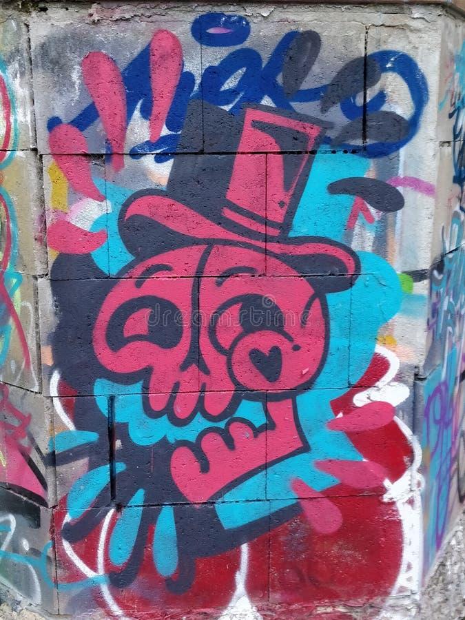 头骨街道画德国华尔街艺术 库存图片