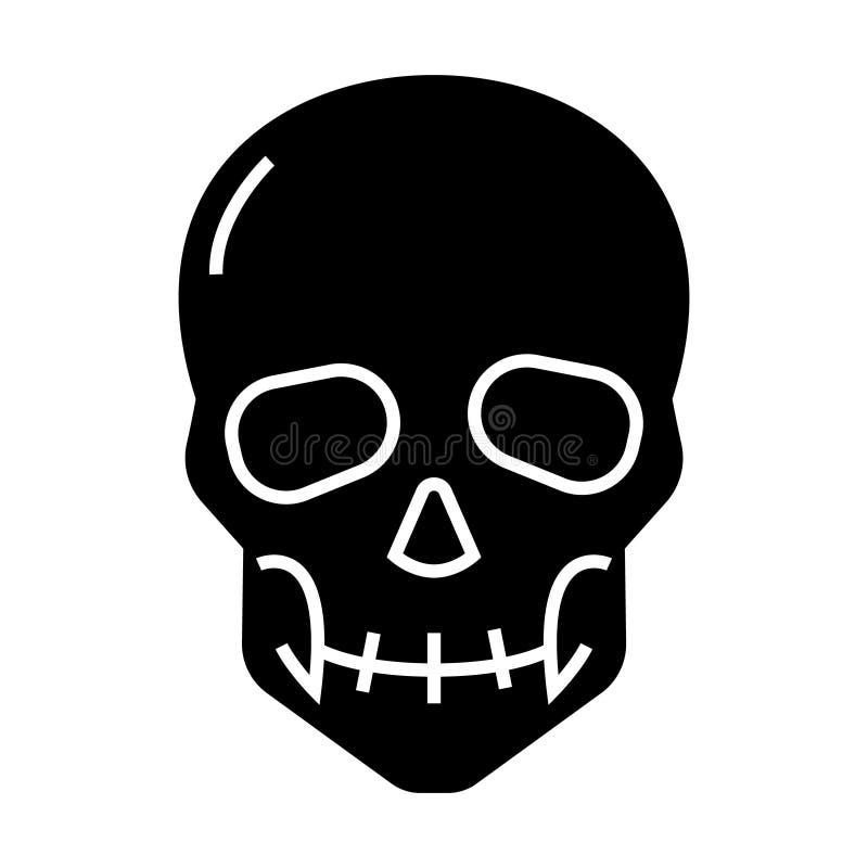 头骨象,传染媒介例证,在被隔绝的背景的黑标志 向量例证