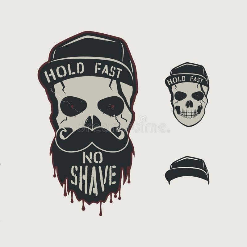 头骨顶头字符 与盖帽的葡萄酒手拉的设计,胡子、髭和词-举行fasy,没有刮脸 异常 库存例证