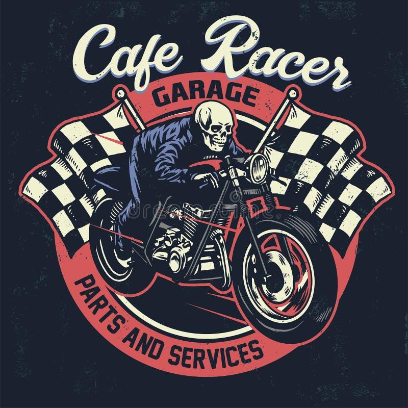 头骨骑马咖啡馆在织地不很细葡萄酒设计的竟赛者摩托车 库存例证
