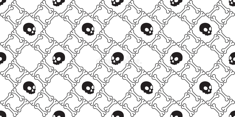 头骨骨头无缝的样式万圣节海盗瓦片背景围巾被隔绝的墙纸重复 库存例证