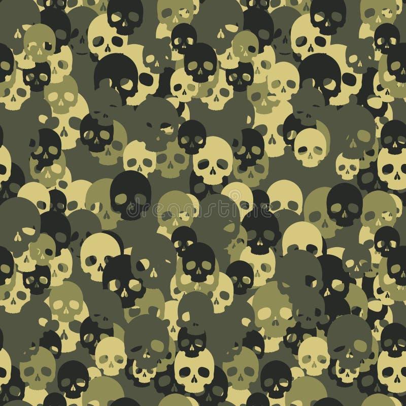 头骨camo无缝的样式 伪装绿色 向量例证