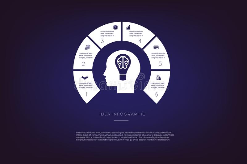 头,电灯泡,脑子 概念例证或背景 infographic的想法 传染媒介单色模板6位置 皇族释放例证